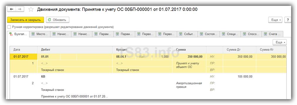 проводки по амортизационной премии в 1С 8.3
